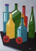 tableau nature morte bouteilles billard vert gris : Une petite soif