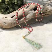 bijoux abstrait sautoir rouge turquoise : Sautoir