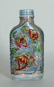 """ceramique verre fleurs bouteille fleurs verre : Petite bouteille plate """"Orient"""" nr 2"""