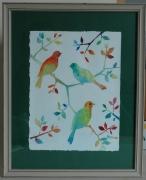 painting animaux oiseaux nature aquarelle feuilles : Les oiseaux sur la branche