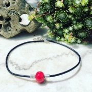 bijoux abstrait collier ruban rouge : Collier ras de cou