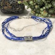 bijoux abstrait collier bleu ruban : Collier ras de cou