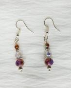 jewelry abstrait boucles d oreil mauve perles de verre : Boucles d'oreilles