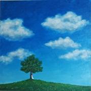 painting paysages arbre nuages ciel fille : La rêverie