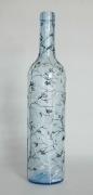 ceramique verre fleurs bouteille vegetal carafe verre : Bouteille bleue nr1