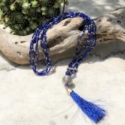 bijoux abstrait sautoir perles de rocaille bleu : Sautoir