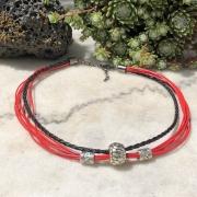 bijoux abstrait collier rouge noir : Collier ras de cou