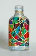 """ceramique verre abstrait verre bouteille abstrait geometrique : Petite bouteille""""Losanges"""""""