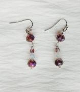 jewelry abstrait boucles d oreil violet perles de verre : Boucles d'oreilles