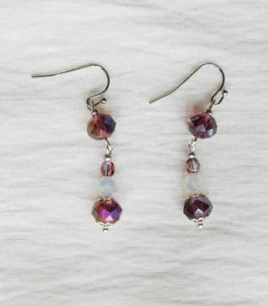 BIJOUX boucles d'oreil violet perles de verre Abstrait  - Boucles d'oreilles