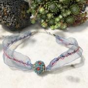 bijoux abstrait collier ruban bleu : Collier ras de cou
