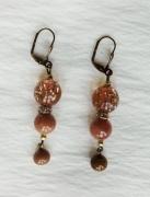 bijoux abstrait boucles d oreil laiton beige : Boucles d'oreilles