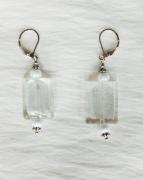 jewelry abstrait boucles d oreil blanc verre de murano : Boucles d'oreilles