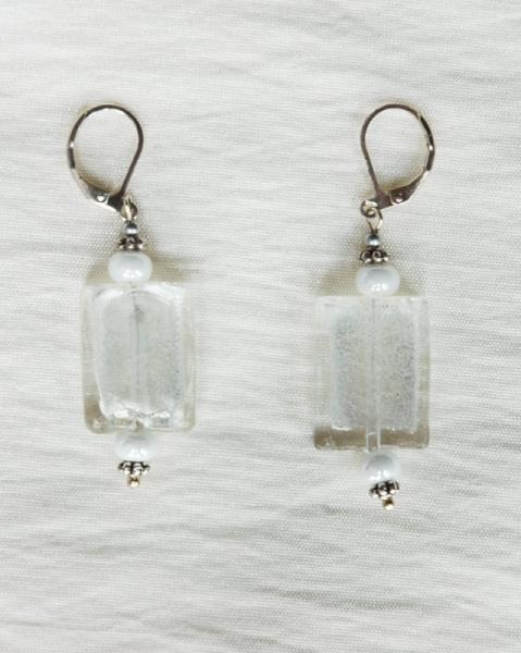 BIJOUX boucles d'oreil blanc verre de Murano Abstrait  - Boucles d'oreilles