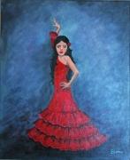 painting personnages dance flamenco fille : La jeune Esmeralda