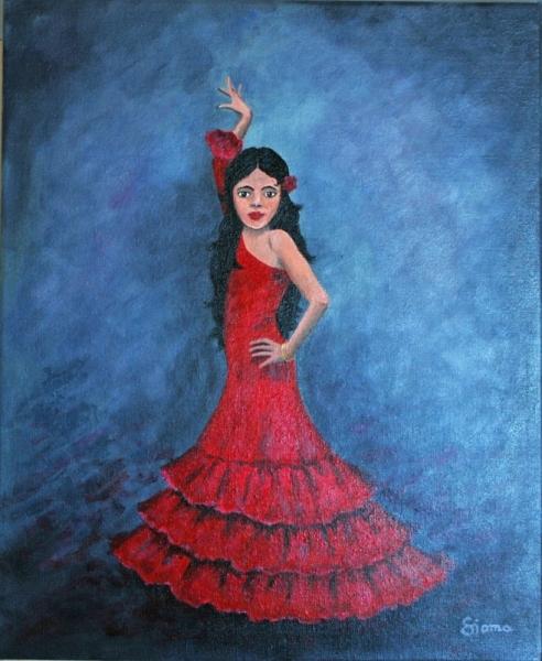 TABLEAU PEINTURE dance flamenco fille Personnages Acrylique  - La jeune Esmeralda