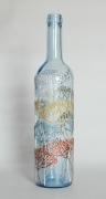 ceramique verre fleurs bouteille vegetal carafe verre : Bouteille bleue nr 2