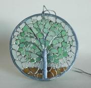 """ceramique verre paysages arbre mosaique vitrail verre : Mosaïque ronde façon vitrail """"Arbre"""""""