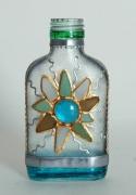 """ceramique verre abstrait bouteille soleil verre abstrait : Petite bouteille plate """"Soleil"""" nr 1"""