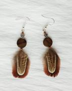 bijoux abstrait boucles d oreil plumes marron : Boucles d'oreilles