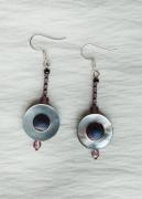 bijoux abstrait boucles d oreil violet nacre hematite : Boucles d'oreilles