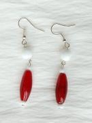 jewelry abstrait boucles d oreil blanc rouge verre de murano : Boucles d'oreilles
