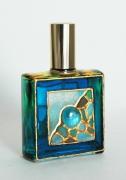 """ceramique verre abstrait flacon verre abstrait : Flacon de parfum décoré """"Carré bleu"""""""