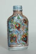"""ceramique verre fleurs bouteille fleurs verre : Petite bouteille plate """"Orient"""" nr 1"""