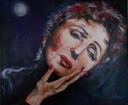 tableau personnages : piaf, acrylique sur toile 46x55