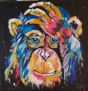 tableau animaux : le singe songeur