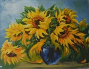 tableau fleurs club de peinture ain : le bouquet de tournesols