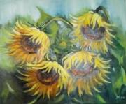 tableau fleurs : bouquet de tournrsols