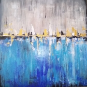 tableau abstrait : turquoise