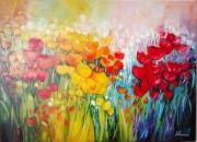 tableau fleurs : champ de tulipes version 2