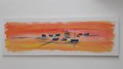 tableau marine marin acrylique bord de mer exotique : Les voiliers de Boulogne Sur Mer