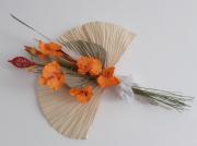 artisanat dart fleurs composition florale fleurs decoration murale tropical : Bouquet floral mural- feuille de palmier orchidée - Maeva