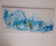 tableau marine marine bord de mer tropical voilier : Toile : la parade des voiliers