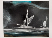 tableau marine marine bord de mer voilier eau : ballade nocturne