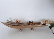 artisanat dart fleurs barque en feuille de coco exotique decoration de table : Grande barque en feuille de coco-modèle 2