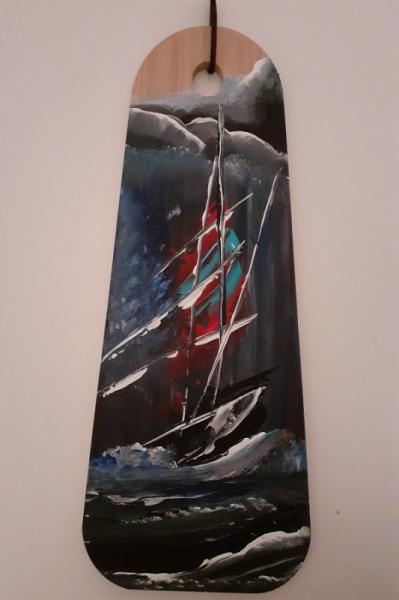 TABLEAU PEINTURE marine acrylique exotique voilier Marine Acrylique  - Planche à tapas en bambou peint à l'acrylique - modèle 1