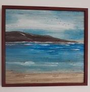 tableau marine marin acrylique mer tropical : Peinture sur toile en paille : Le calme