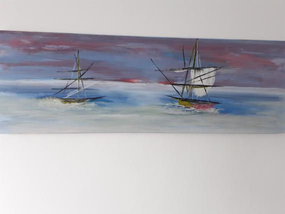 TABLEAU PEINTURE marin voilier mer tropical Marine Acrylique  - silence marin