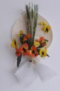 artisanat dart fleurs bouquets fleurs composition florale tropical decoration murale : Bouquet de fleurs mural Salazie avec éventail de palmier tissé