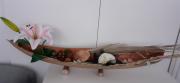 artisanat dart fleurs barque feuille de coco decoration exotiqeu decoration tropicale centre de table : Grande barque en feuille de coco-modèle 1