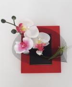 artisanat dart fleurs cadre floral fleurs exotique tropical : Cadre avec orchidées -Polynésie