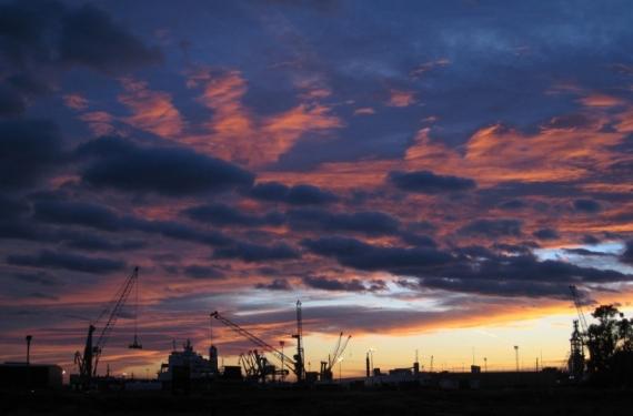 PHOTO Sagunte Espagne port ciel  - Coucher de soleil sur Sagunte