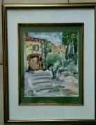 tableau paysages village provence caromb aquarelle : VILLAGE CAROMB