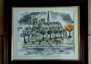tableau paysages paris notre dame aquarelle aquarelle : NOTRE DAME DE PARIS
