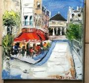tableau scene de genre paris cafe brasserie huile toile : LE DANTON PARIS
