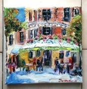 tableau scene de genre paris brasserie huile cafe : PARIS LES DEUX MAGOTS